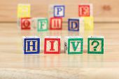 foto of hiv  - Wooden blocks with letters - JPG