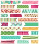 stock photo of ripped  - Vector Collection of Cute Patterned Washi Tape Strips - JPG
