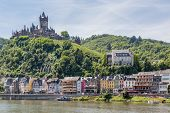 image of moselle  - Cochem with castle along river Moselle in Germany - JPG