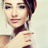 stock photo of fine art portrait  - A portrait of elegant girl is in fashion style - JPG