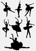 stock photo of ballet dancer  - A collection of ballet dancers silhouettes vector illustration isolated on white background - JPG