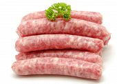 picture of fat-guts  - Fresh raw sausage one near the other on white background - JPG