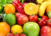 Bright Background Of Ripe Fruits  And Vegetables