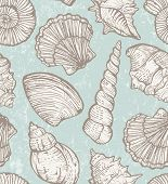 pic of cockle shell  - Seamless pattern with  hand - JPG