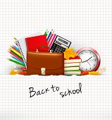 Back to school. Background with school supplies and ripped paper. Vector