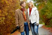 stock photo of sweethearts  - Portrait of ecstatic couple during walk in autumnal park - JPG