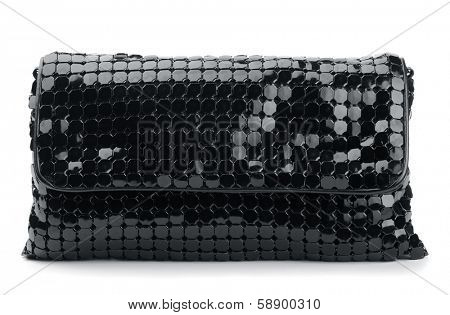 Black clutch bag isolated on white