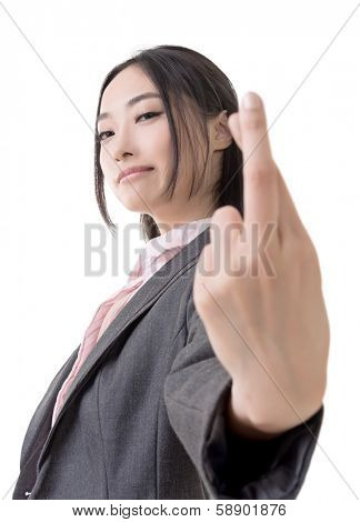 Asian business woman give you a fake gesture, closeup portrait on white background.