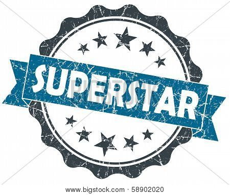 Superstar Blue Grunge Vintage Seal Isolated On White