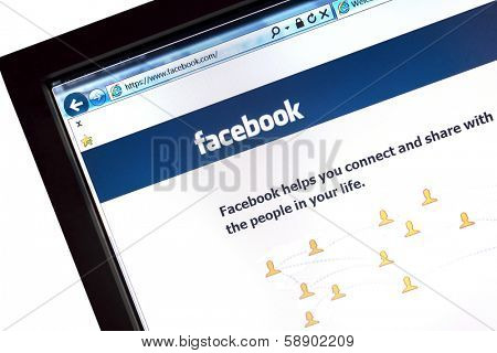 Ostersund, Sweden - December 15, 2012: Facebook website displayed on a computer screen. Facebook is the largest social media network on the web,
