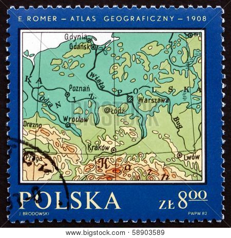 Postage Stamp Poland 1982 Map Of Poland, 1908