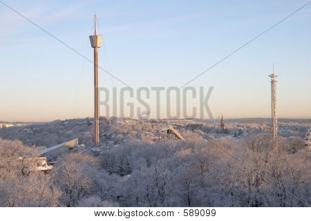 Sunrise With Snow And Buildings
