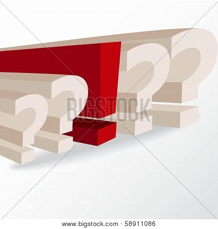 Business Decision, Conceptual Illustration With Question Marks And Exclamation Mark
