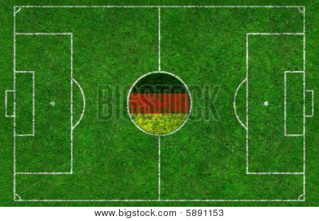 Football Pitch With German Flag