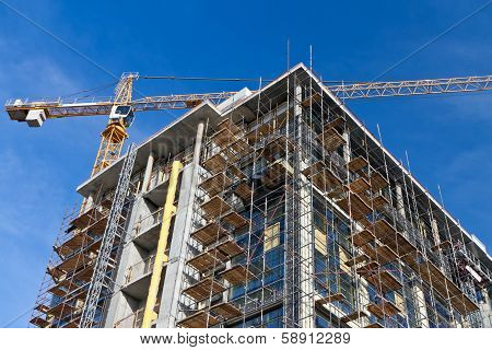 Tower Crane And Building Under Construction