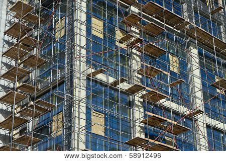 Detail Of Scaffolding On Construction Site