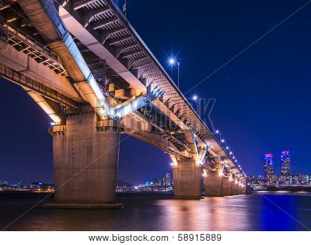 Seoul, South Korea and bridge over the Han River.