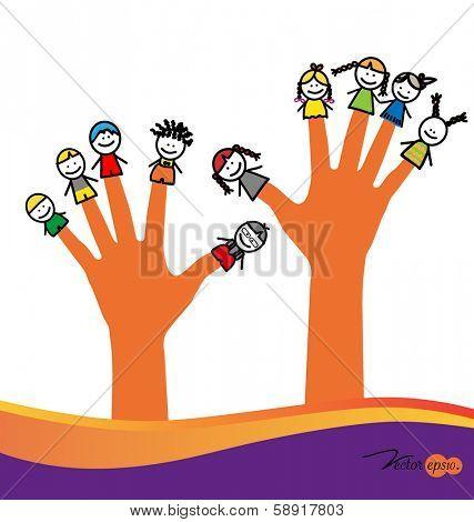 Cute happy cartoon kids on fingers. Vector illustration.