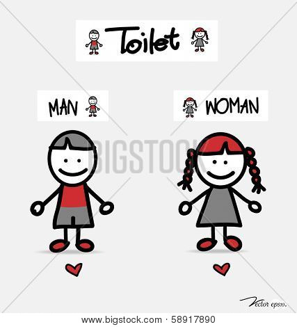 Restroom male and female sign vector illustration.