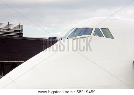 Cockpit windows of jet aircraft.