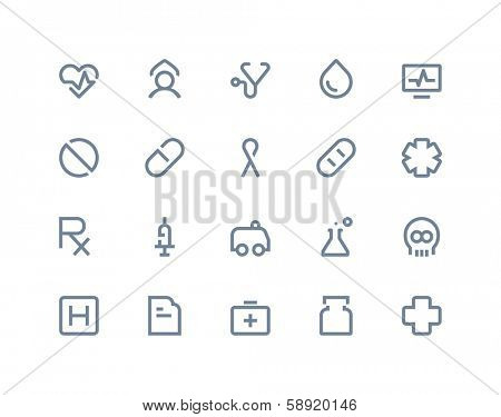 Medical and health care icons. Line series