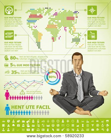 Vector infographics with business man, earth map and web icons, and elements usefull for any visualisations