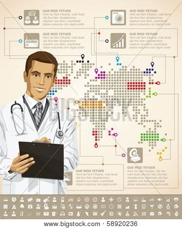 Vector infographics with doctor, earth map and web icons, and elements usefull for any visualisations