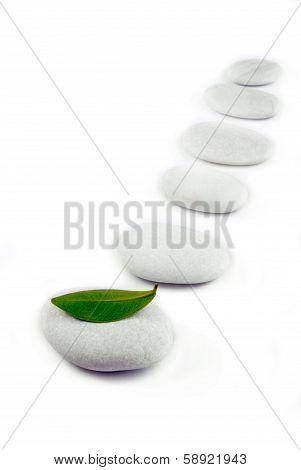 white stone pebble zen path isolated on white