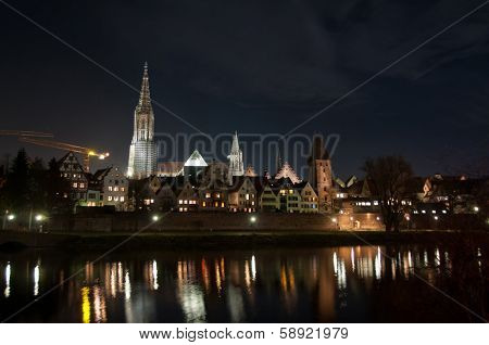 Skyline of German City Ulm with Cathedral (Munster) at night