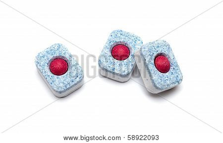 Tablets For Dish-washing Machine On A White Background