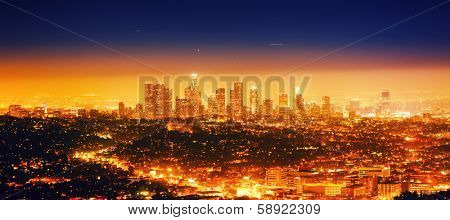 Los Angeles cityscape panorama at night.