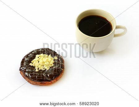 Chocolate Donut With Cup Of Coffee