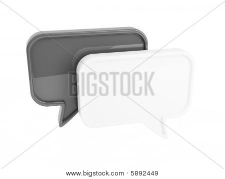 Black and white chat boxes