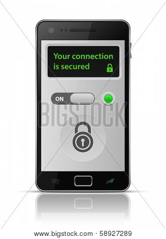 Is your connection secure? Smartphone secure connection. Vector illustration