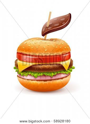 Unhealthy eating concept with hamburger like apple with leaf.  EPS10 vector illustration