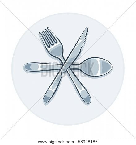 Kitchen utensils fork knife and spoon. Eps10 vector illustration. Isolated on white background