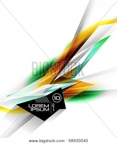 Hi-tech colorful futuristic lines isolated on white. For business \ technology backgrounds, banners, presentations, infographics.
