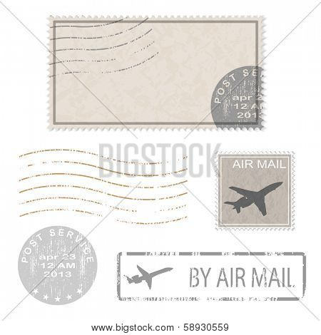 Set of postal business icons, stamps. Vector illustration.