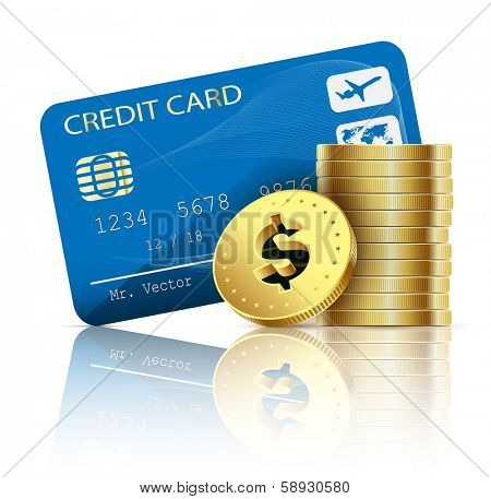 Credit card and coins on white background. Vector illustration.