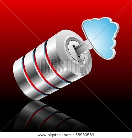 Concept of private information base as a cloud. Vector illustration.