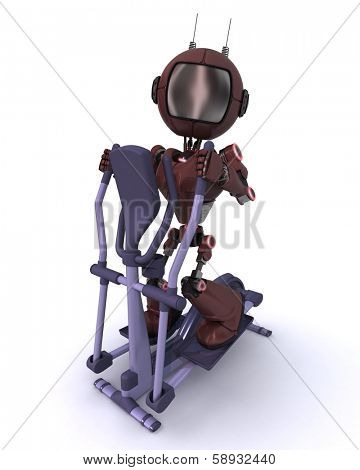 3D render of an Andriod at the gym on a cross trainer