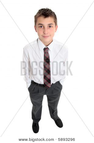 Typical School Boy Stands In Uniform