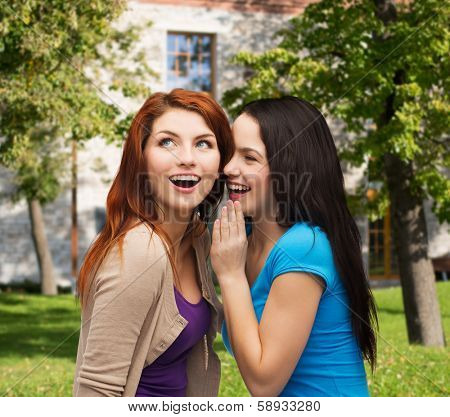 friendship, happiness and people concept - two smiling girls whispering gossip