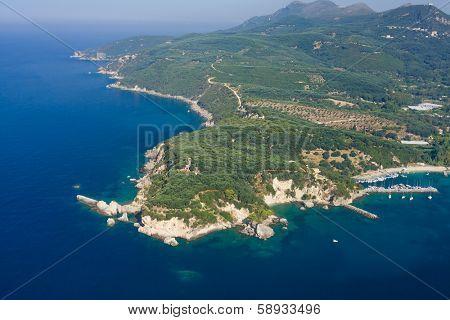 Aerial landscape of Parga Greece