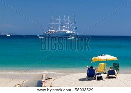 The village of Parga in Epirus Greece Valtos beach