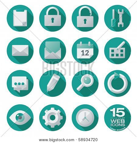 Semi flat web icons set of 15 vector design elements in circles, long shadow. Easily editable with global color swatches.