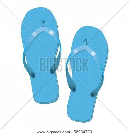 Sky Blue Flip Flops Summer Vacation Vector Illustration