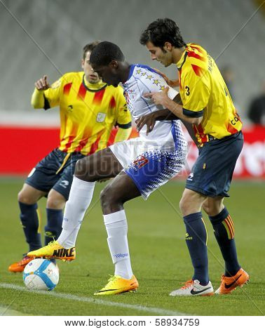 BARCELONA - DEC, 30: Cape Verdean player Jorge Djaniny during the friendly match between Catalonia and Cape Verde at Olympic Stadium on December 30, 2013 in Barcelona, Spain