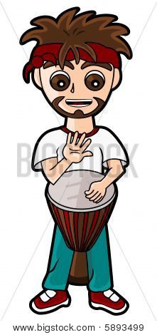 Percussionist playing the djembe