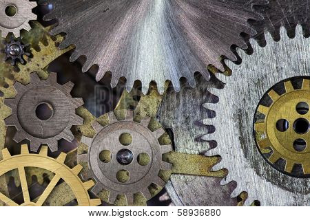 clock mechanism gears and cogs macro